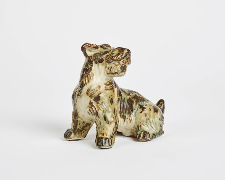 Ceramic Terrier sculpture by Danish designer Knud Khyn for Royal Copenhagen, circa 1950s.