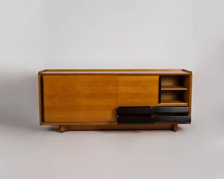 Mid-Century Modern Guillerme et Chambron, Buffet with Sliding Doors, France, circa 1950 For Sale