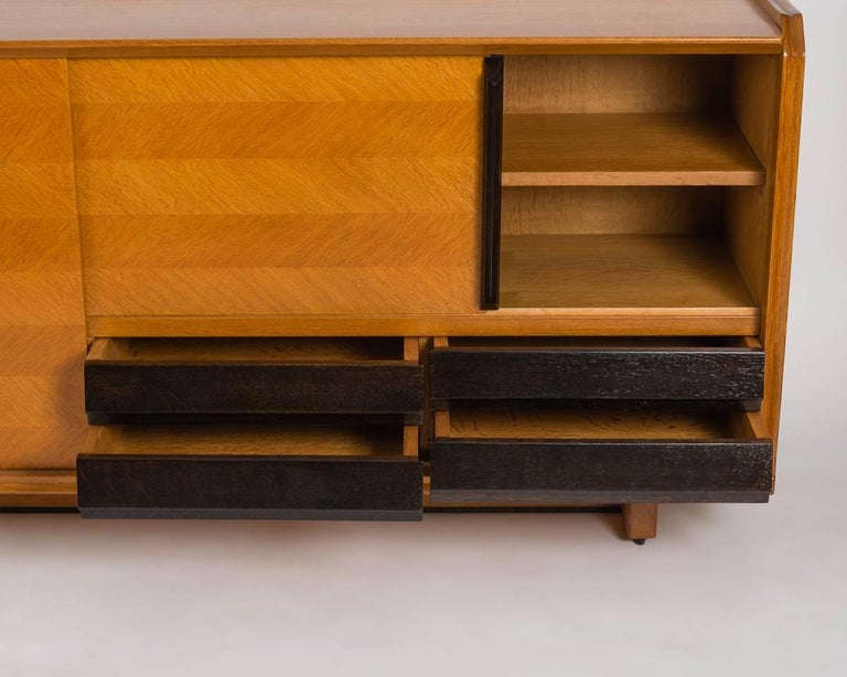 Veneer Guillerme et Chambron, Buffet with Sliding Doors, France, circa 1950 For Sale
