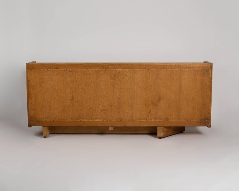 Oak Guillerme et Chambron, Buffet with Sliding Doors, France, circa 1950 For Sale