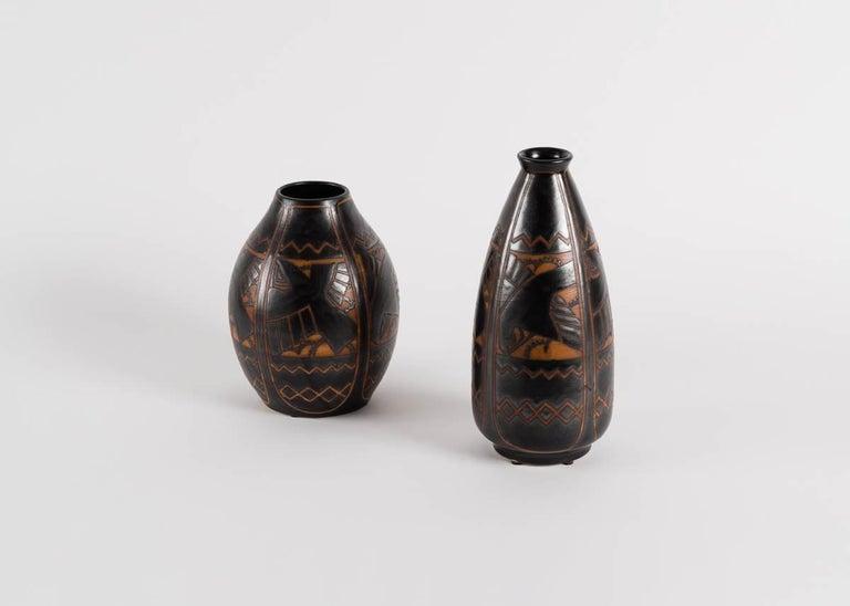 Glazed Charles Catteau for Boch Frères, Art Deco Vase, Belgium, 1925 For Sale