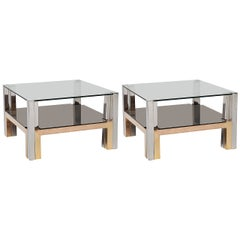 Pair of Chrome and Glass Coffee Tables, Nucci Valsecchi, Italy, C. 1970