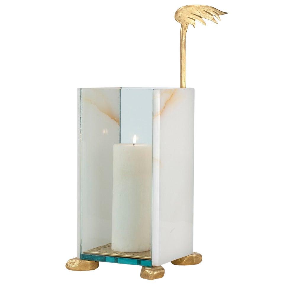 Aldus, Bronze and Onyx Candle Lantern, Italy, 2013