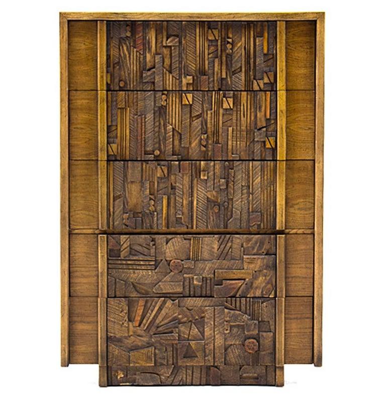 Oak Brutalist Five-Drawer Dresser Designed by Lane Furniture For Sale