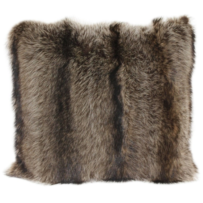 Luxurious Down Filled Genuine Raccoon Throw Pillows For Sale