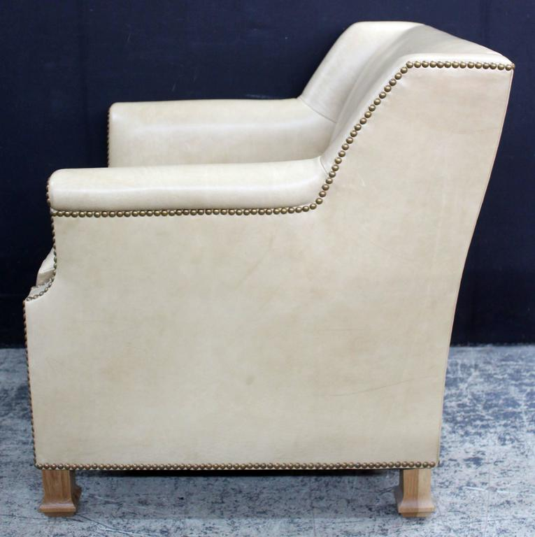 North American Pair of Custom Leather Club Chairs in a Butter Soft