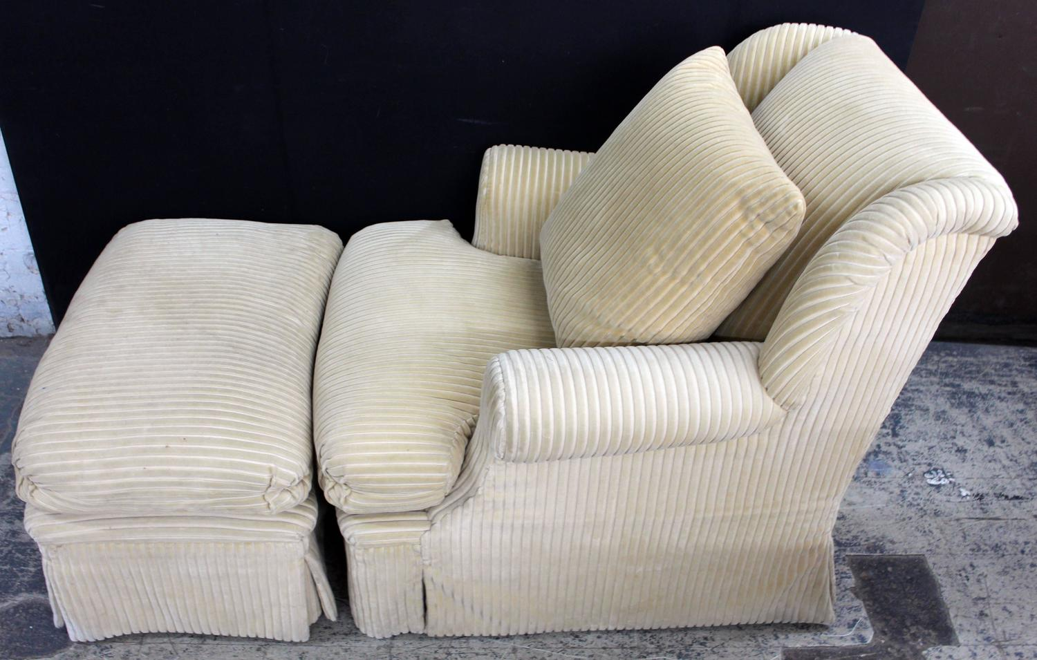 Large And Comfortable Club Chair And Matching Ottoman For