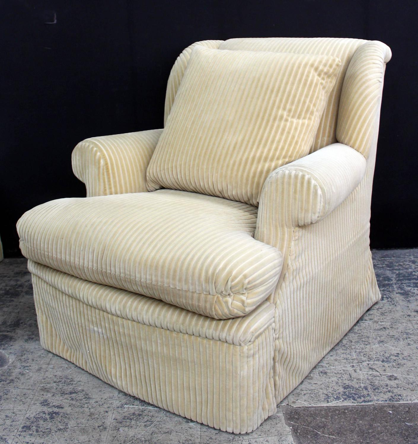 large and comfortable club chair and matching ottoman for sale at