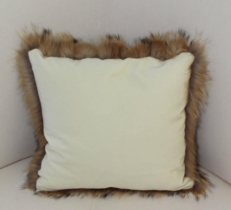 Luxurious Down Filled Genuine Tanuki Fur Throw Pillows For Sale at 1stdibs