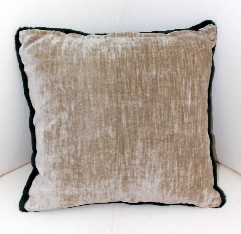 Luxurious Down Filled Green Genuine Sheared Beaver Throw Pillows For Sale at 1stdibs