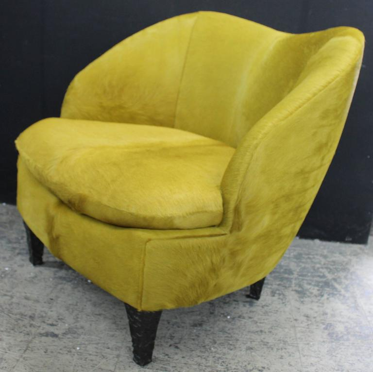 Chic Modern Club Chair In Chartreuse Hair On Hide With Hand Gauged,  Lacquered