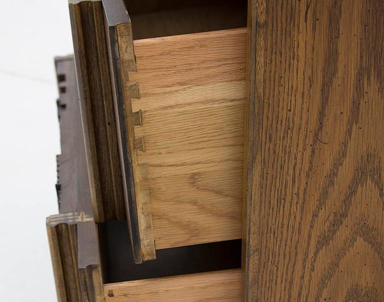 American Oak Brutalist Five Drawer Dresser Designed By Lane Furniture For  Sale