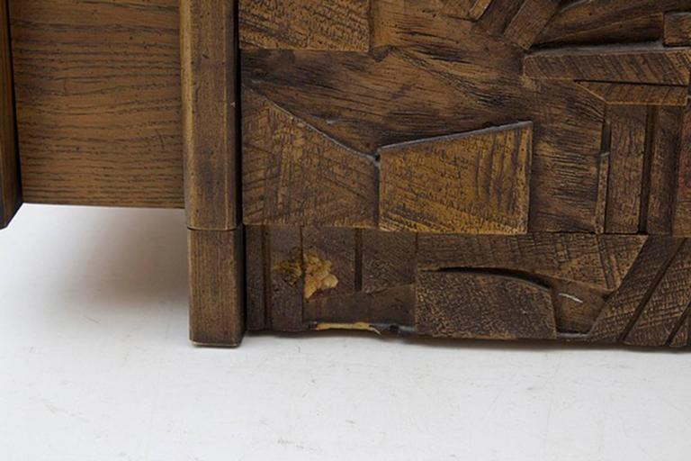 Oak Brutalist Five-Drawer Dresser Designed by Lane Furniture In Good Condition For Sale In Long Island City, NY