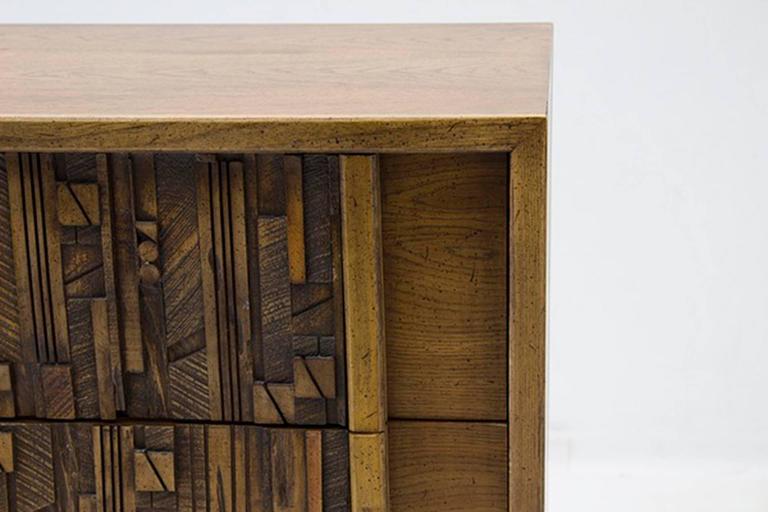 Late 20th Century Oak Brutalist Five-Drawer Dresser Designed by Lane Furniture For Sale