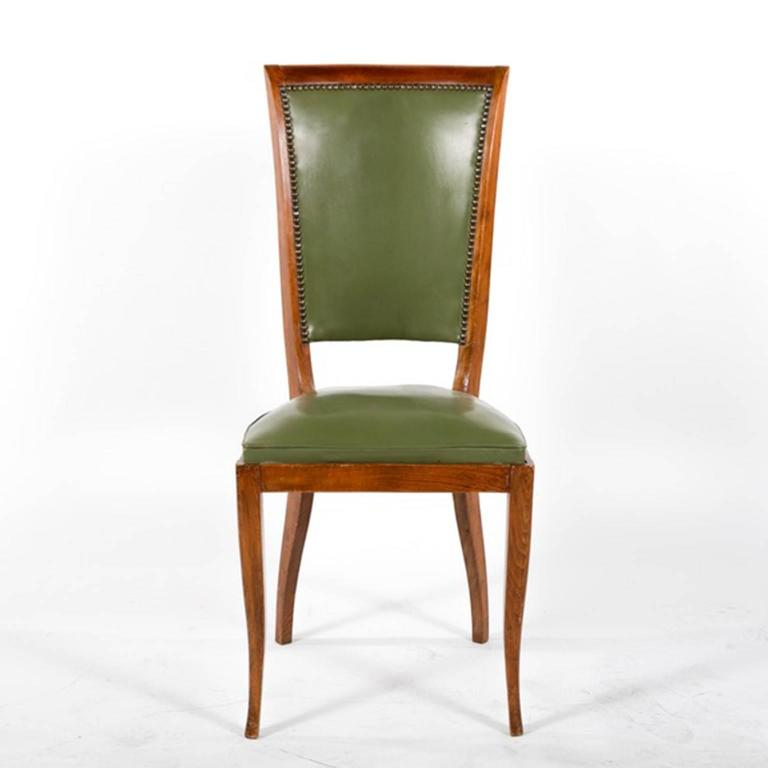 Group of Six French Vintage Upholstered Dining Side Chairs In Good Condition For Sale In Long Island City, NY