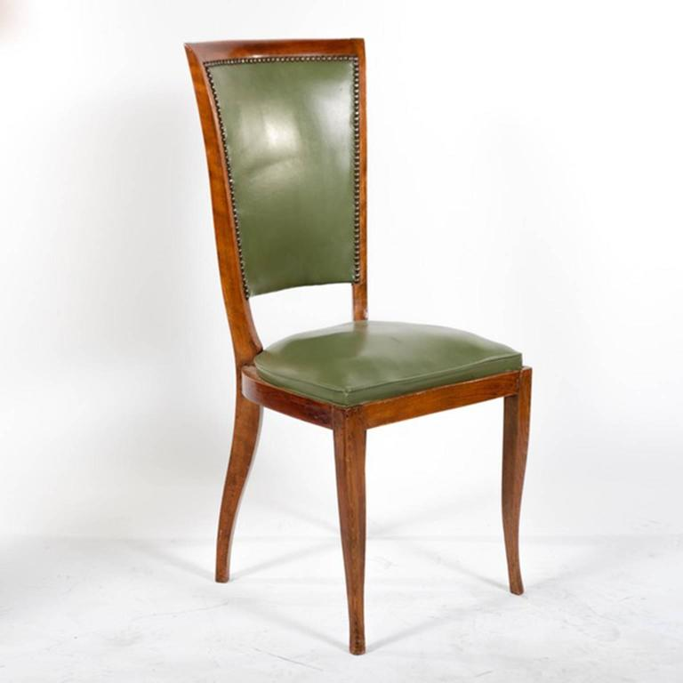 Mid-20th Century Group of Six French Vintage Upholstered Dining Side Chairs For Sale