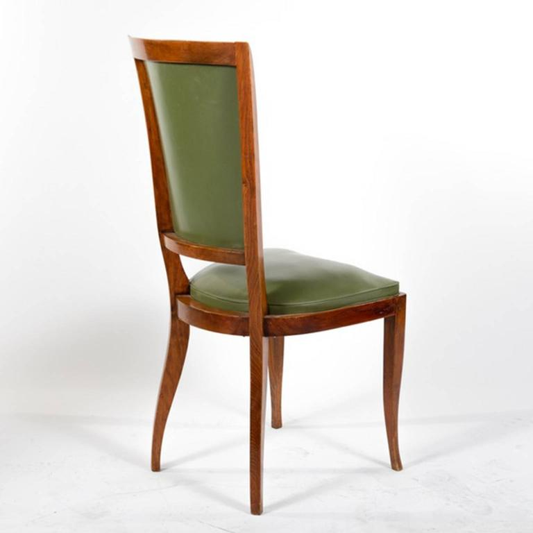 Group of Six French Vintage Upholstered Dining Side Chairs For Sale 1