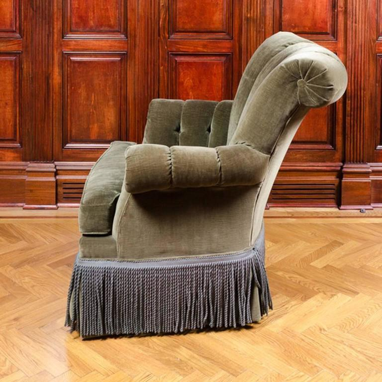 Classic And Comfortable Channel Back Club Chair With Fringe Detail At