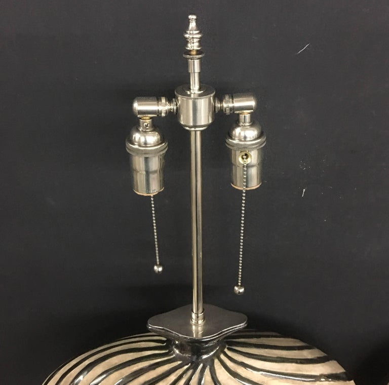 Unusual Pair of Whimsical Ceramic Vessels with Lamp Application In Excellent Condition For Sale In Long Island City, NY