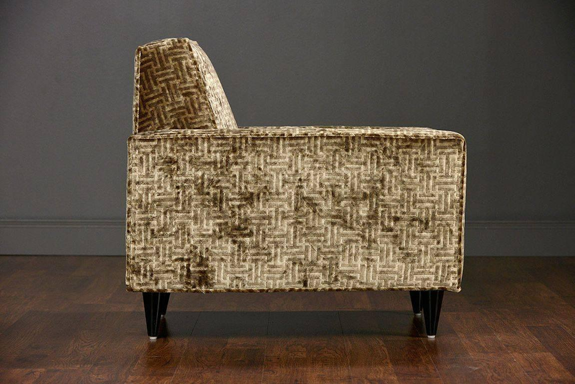 Pair of vintage deco style upholstered club chairs at 1stdibs for Deco style retro