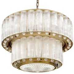 1940s Austrian Two Tiered Fluted Glass and Brass Chandelier