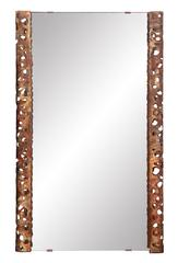 Chic Studio Made Mirror with Brutalist Bronze Curved Sides