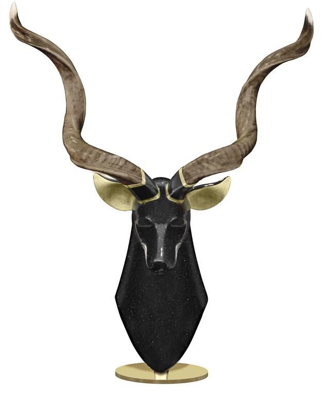 American Large Kudu Sculpture by Roberto Estevez for Karl Springer For Sale