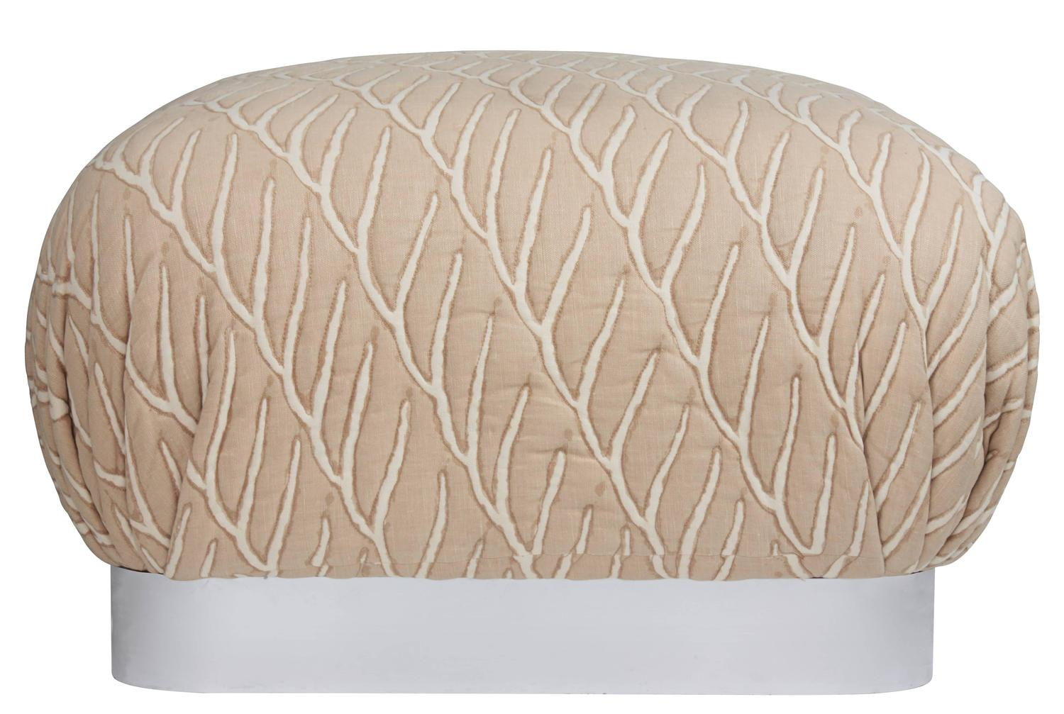 Large Square Upholstered Ottoman In The Manner Of Karl