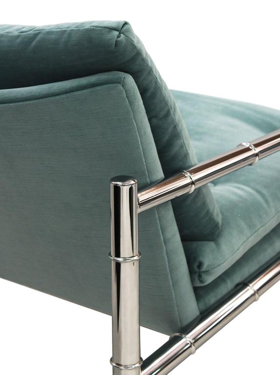 Chair and Ottoman in Chrome with Bamboo Motif 4