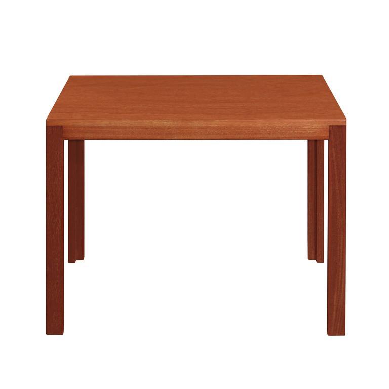 Clean-line end table in teak by Edward Wormley for Dunbar, American, 1950s. (Dunbar metal tag on bottom).