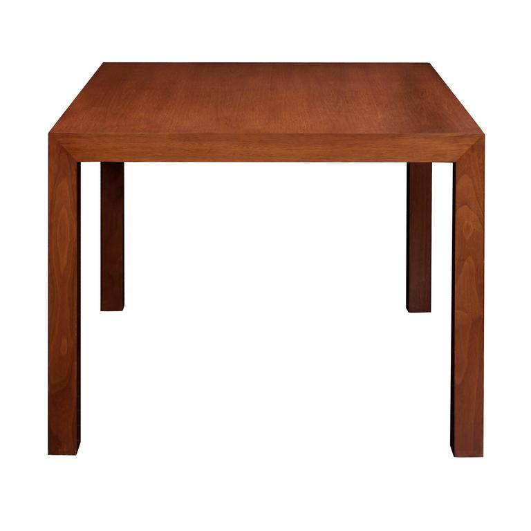 Parsons style side table in walnut by Edward Wormley for Dunbar, American, 1960s (Dunbar tag and label on bottom).