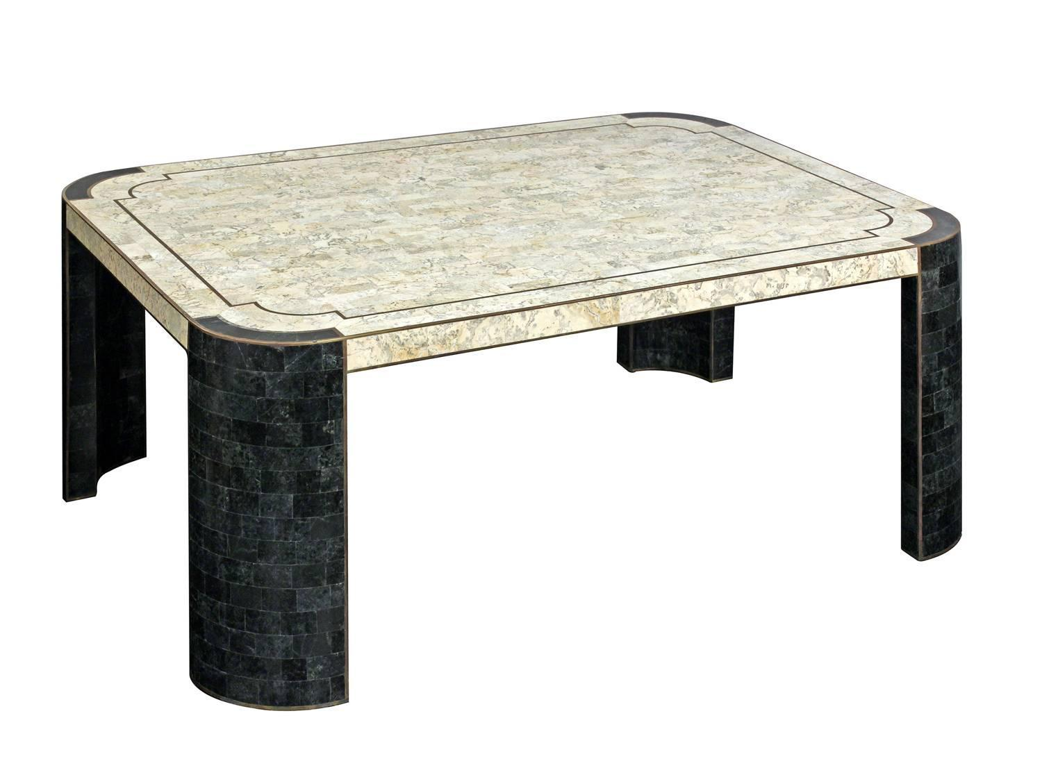 Chic Coffee Table In Tessellated Stone By Maitland Smith For Sale At 1stdibs
