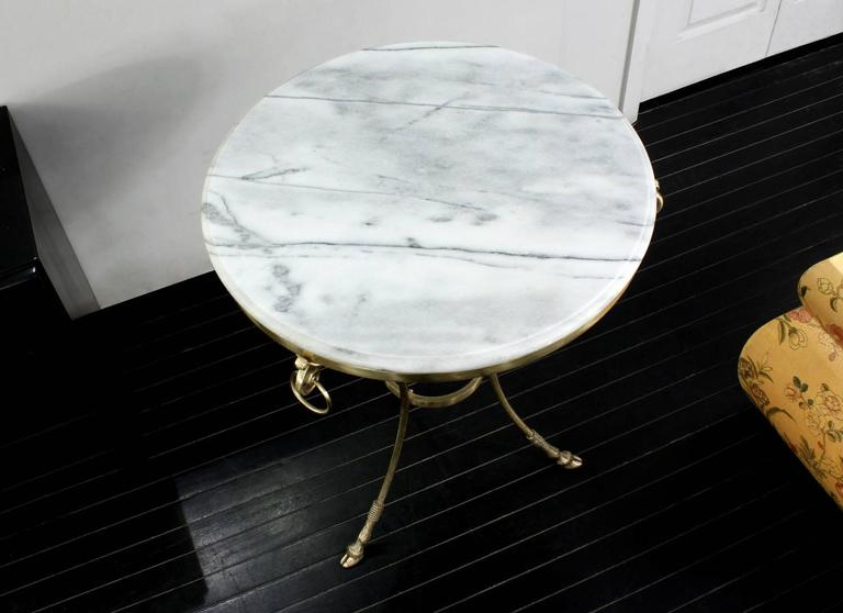 Mid-Century Modern Neoclassical Marble and Bronze Side Table For Sale