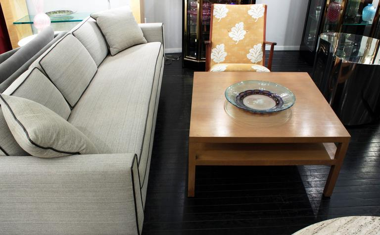 Square Coffee Table in Bleached Walnut by T.H. Robsjohn-Gibbings In Excellent Condition For Sale In New York, NY