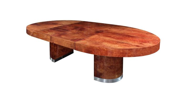 Mid-Century Modern Round Lacquered Goatskin Dining Table by Ron Seff For Sale