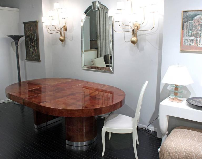 Hand-Crafted Round Lacquered Goatskin Dining Table by Ron Seff For Sale