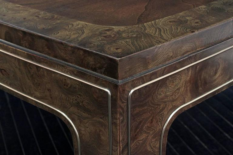 American Dining Table in Carpathian Elm with Brass Inlays by Mastercraft For Sale