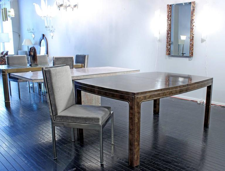 Dining Table in Carpathian Elm with Brass Inlays by Mastercraft In Excellent Condition For Sale In New York, NY