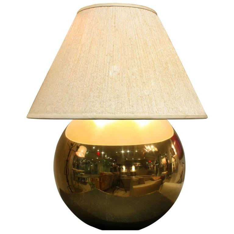 Amazing Large Brass Orb Table Lamp By Karl Springer For Sale