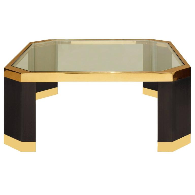 Ron Seff Coffee Table In Gold And Black Nickel 1970s For
