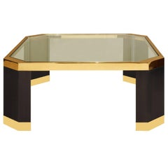 Ron Seff Coffee Table in Gold and Black Nickel, 1970s