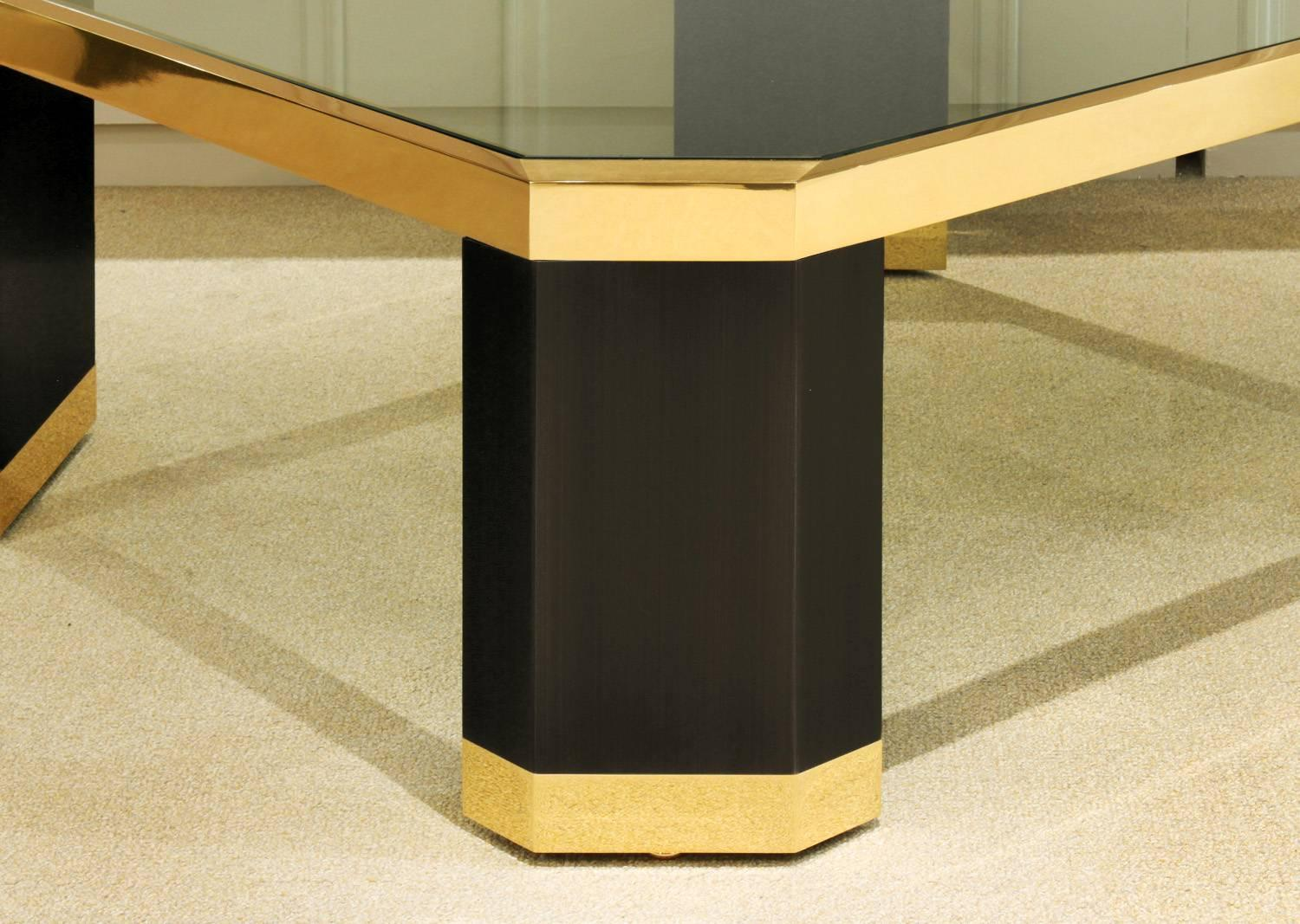 Ron Seff Coffee Table In Gold And Black Nickel 1970s For Sale At 1stdibs
