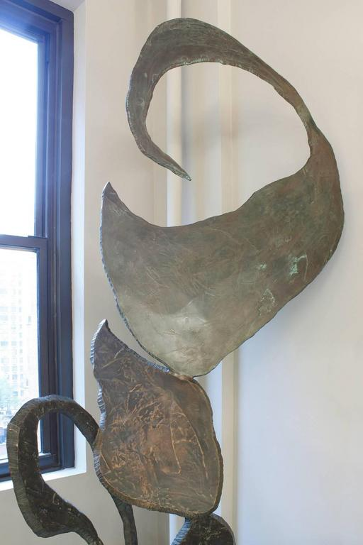 Large abstract sculpture in bronze by Arthur Gibbons, American 1980s (signed on base