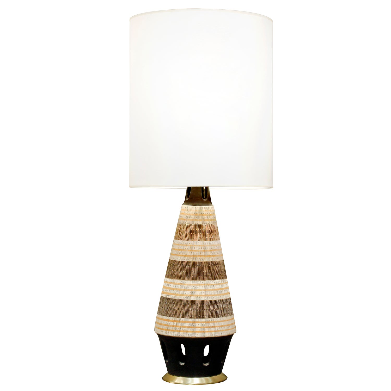 Ceramic Table Lamp with Sgraffito Design, 1950s