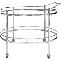 Elegant Serving Cart with Glass Shelves, 1950s