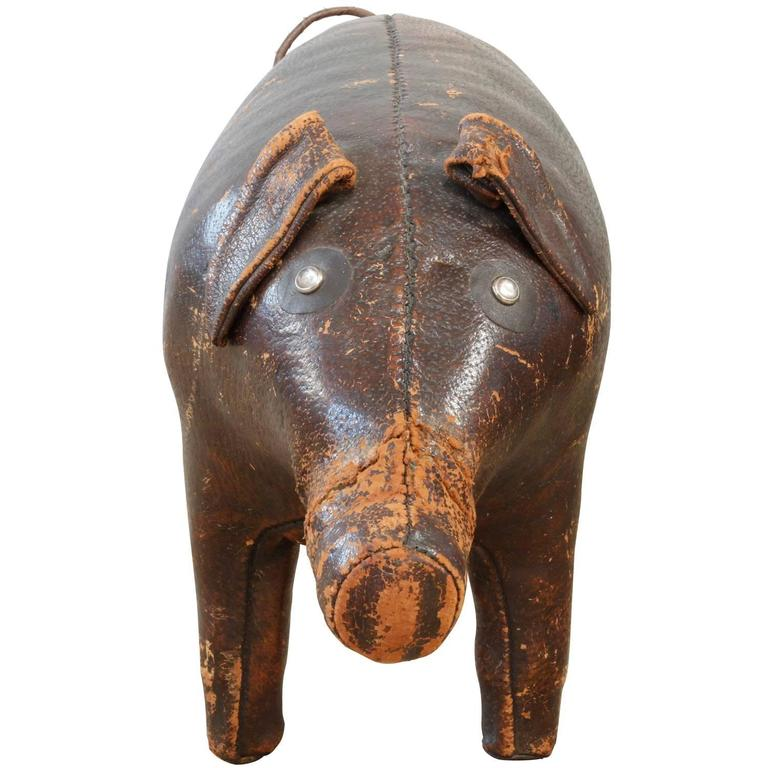 Hand-stitched leather pig designed by Omersa and Company for display at the Abercrombie and Fitch stores, England, 1960s.
