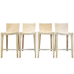 "Karl Springer Set of Four Goatskin ""JMF Bar Stools"", 1979"