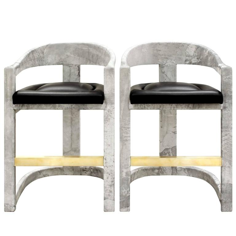 Pair Of Karl Springer Goatskin Onassis Bar Stools 1980s For