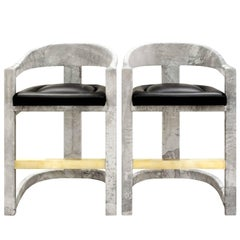 Pair of Karl Springer Goatskin Onassis Bar Stools, 1980s