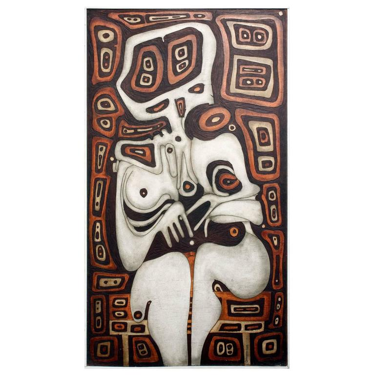 """Joseph Demarais """"Beyond the Dreams a Nightmare"""" Carved Wood Painting, 1968"""
